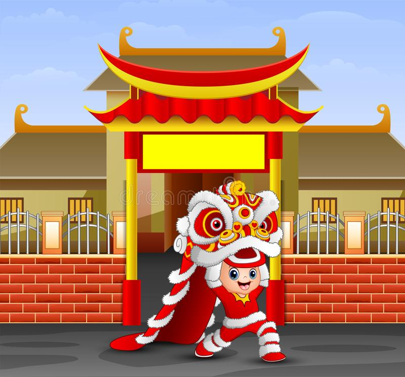 Kid playing chinese dragon dance in front of the temple. Illustration of Kid playing chinese dragon dance in front of the temple stock illustration
