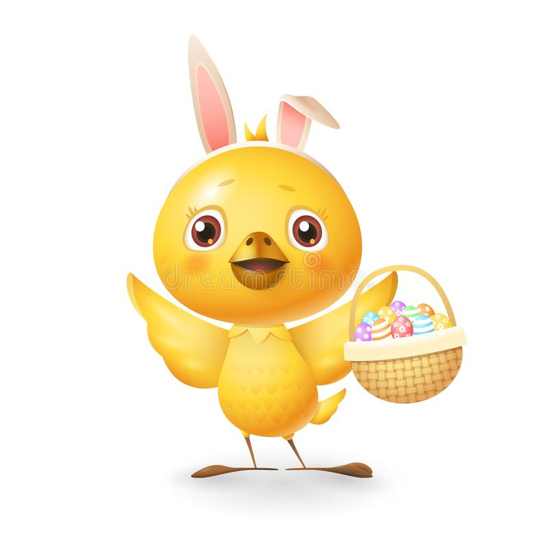 Cute little chicken with bunny ears and knitted basket with eggs celebrate Easter - isolated on white background stock illustration