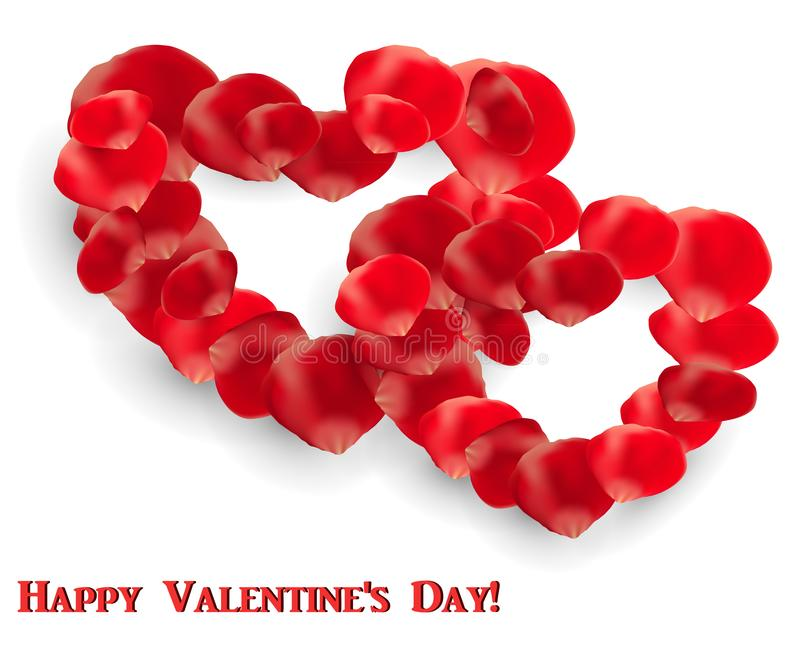Valentine`s Day greeting card with rose petals in the shape of two hearts stock illustration