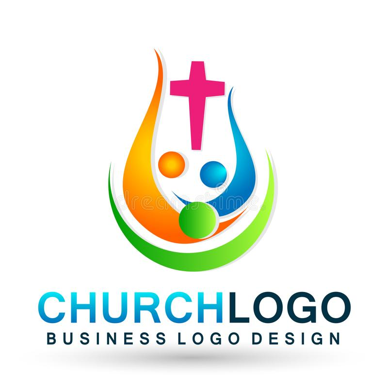 Church People union family logo icon winning happiness love together team work success wellness health symbol on white background. Church People union family vector illustration