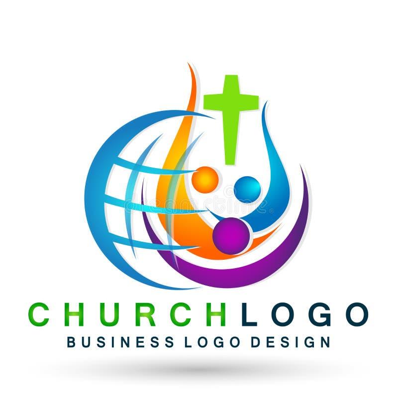 Globe world Church People union logo icon winning happiness love together team success wellness health symbol on white background vector illustration