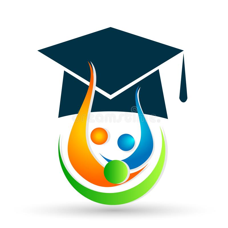 Graduates academic high education students logo icon successful graduation students bacholar icon element on white background vector illustration