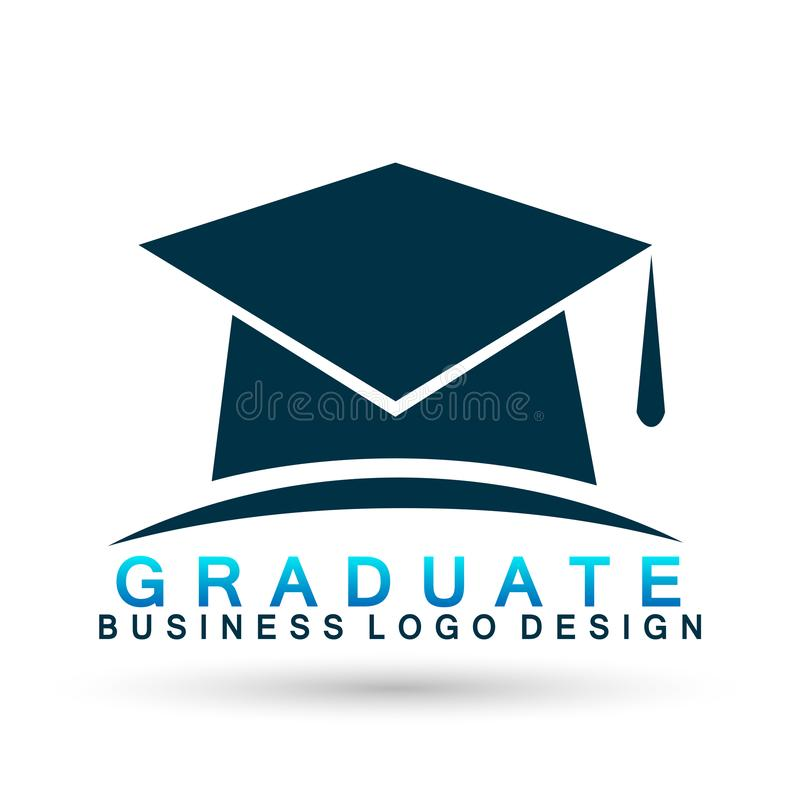 Graduates hat academic high education institute logo icon successful graduation student bachelor icon element on white background. In ai10 illustrations royalty free illustration