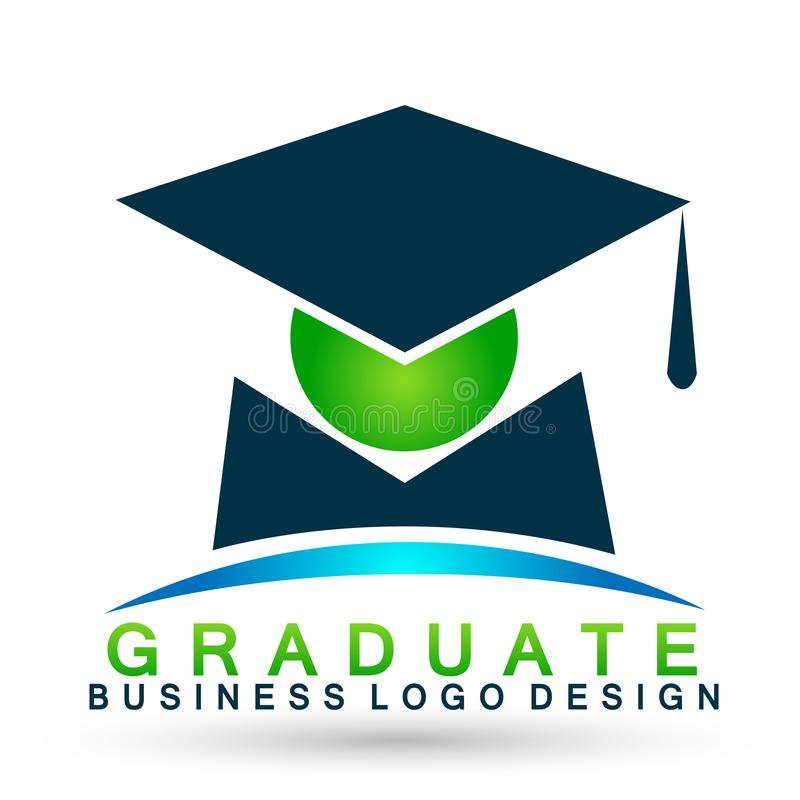 Graduates academic high education students logo icon successful graduation students bachelor icon element on white background. Graduates academic high education stock illustration