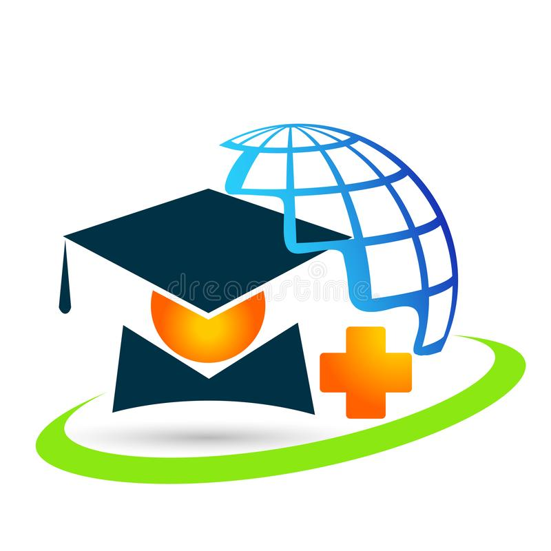 Graduates world academic high education students logo icon successful graduation medical bachelor icon element on white background. World Graduates academic high royalty free illustration