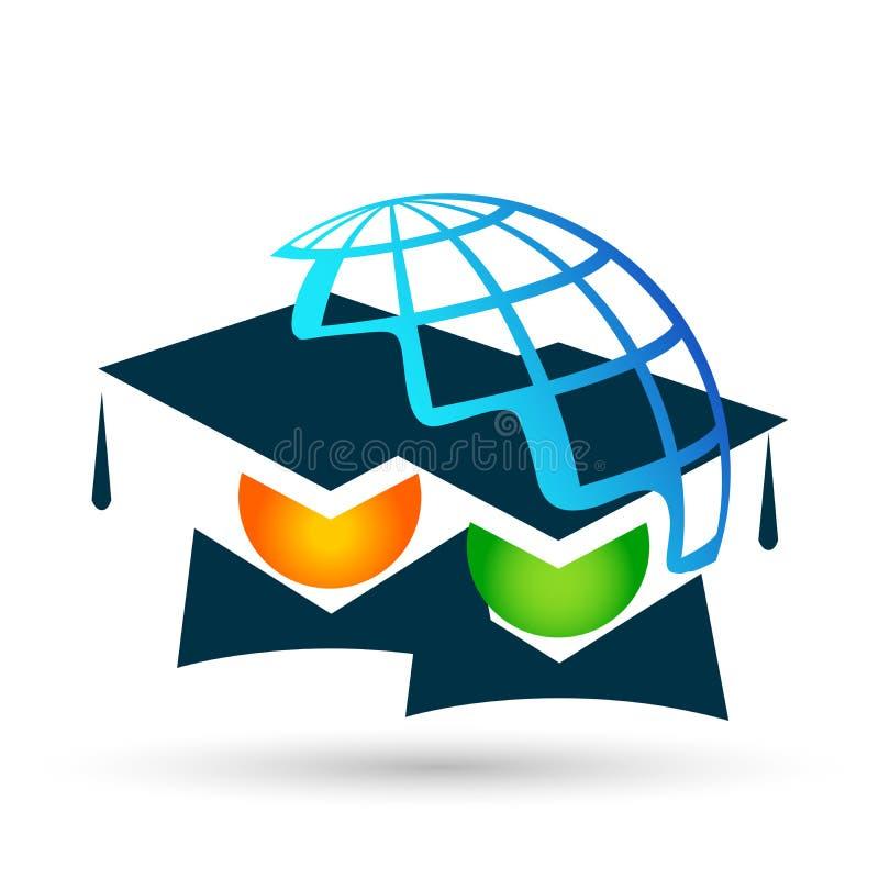 Graduates couple academic world education students logo icon successful graduation bachelor icon element on white background. World Graduates couple academic royalty free illustration