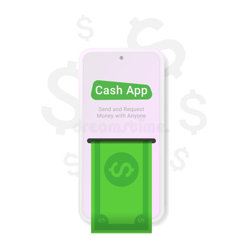 Cash app, great design for any purposes. Web, app, banner design. Cash icon flat element. Flat dollar icon. Mobile technology. Phone display. Vector money stock illustration