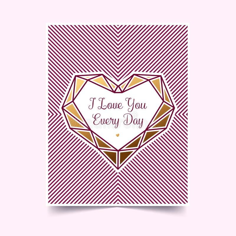 Gold Valentine on a white background. Invitation with a heart. Vector illustration. royalty free stock photos
