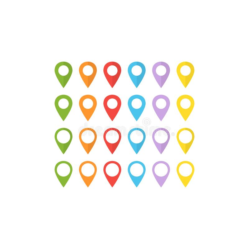 Colorful location pin set of vector icons. Location pin mark isolated icon set in color royalty free illustration