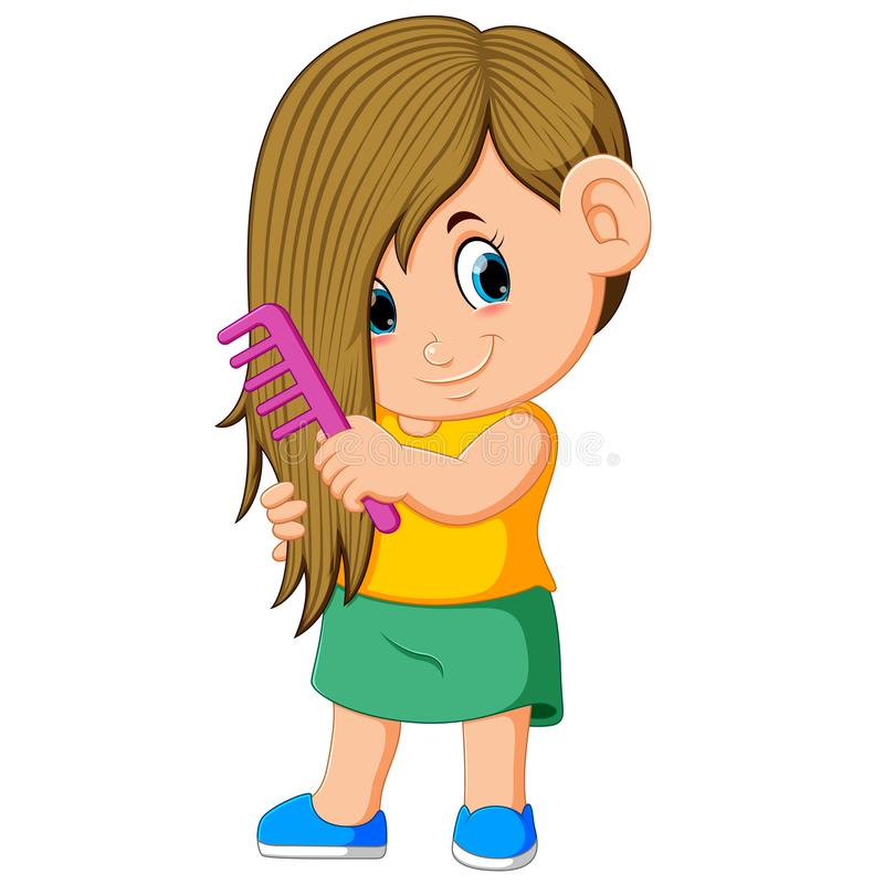 The girl is combing her hair with the pink comb royalty free illustration