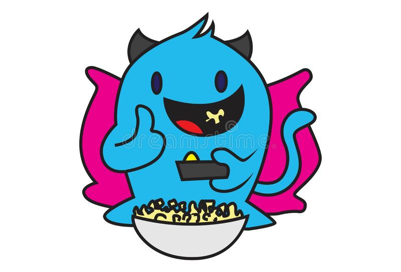 Cartoon Illustration Of Blue Monster stock illustration