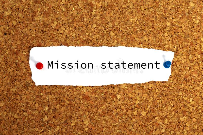Mission statement heading. Pinned mission statement note on noticeboard royalty free stock photos