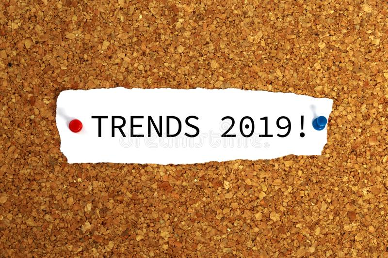 Trends 2019 heading stock images