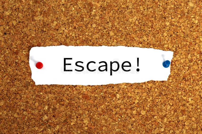 Escape note pinned on corkboard royalty free stock photos