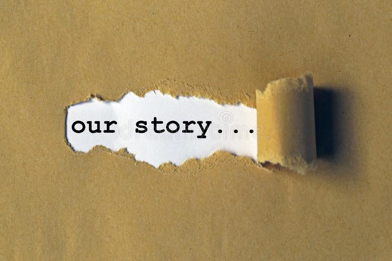 Our story. Word on white paper stock photography