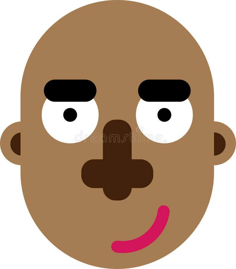 Black bold man face flat design. An old man face with bold hairless figure vector illustration