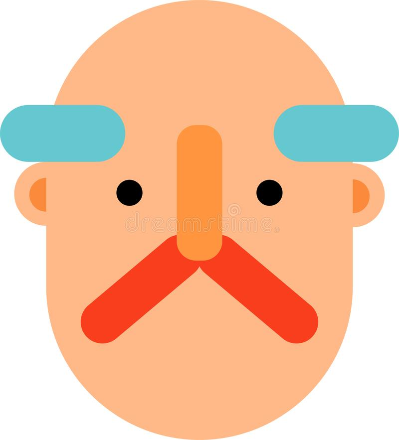 Old man face flat design. Old man face without smile. Emotionless face. Bold head.Flat design. Web graphics, and icons vector illustration