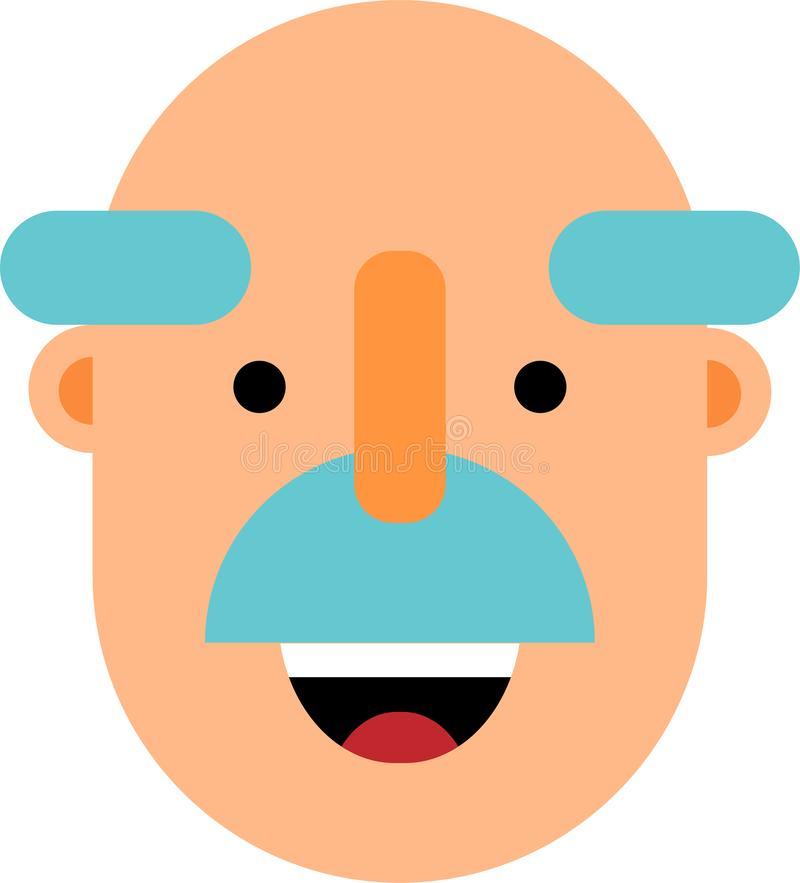 Old man smiling face flat design. An old man smiling face. Bold head.Flat design. Web graphics, and icons. Vector illustrations stock illustration