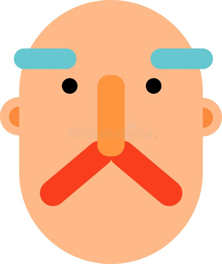 Middle age man face flat deaign. A bold middle age man face vector illustration. Stright looking. Best for web, mobile and graphic deaigning royalty free illustration