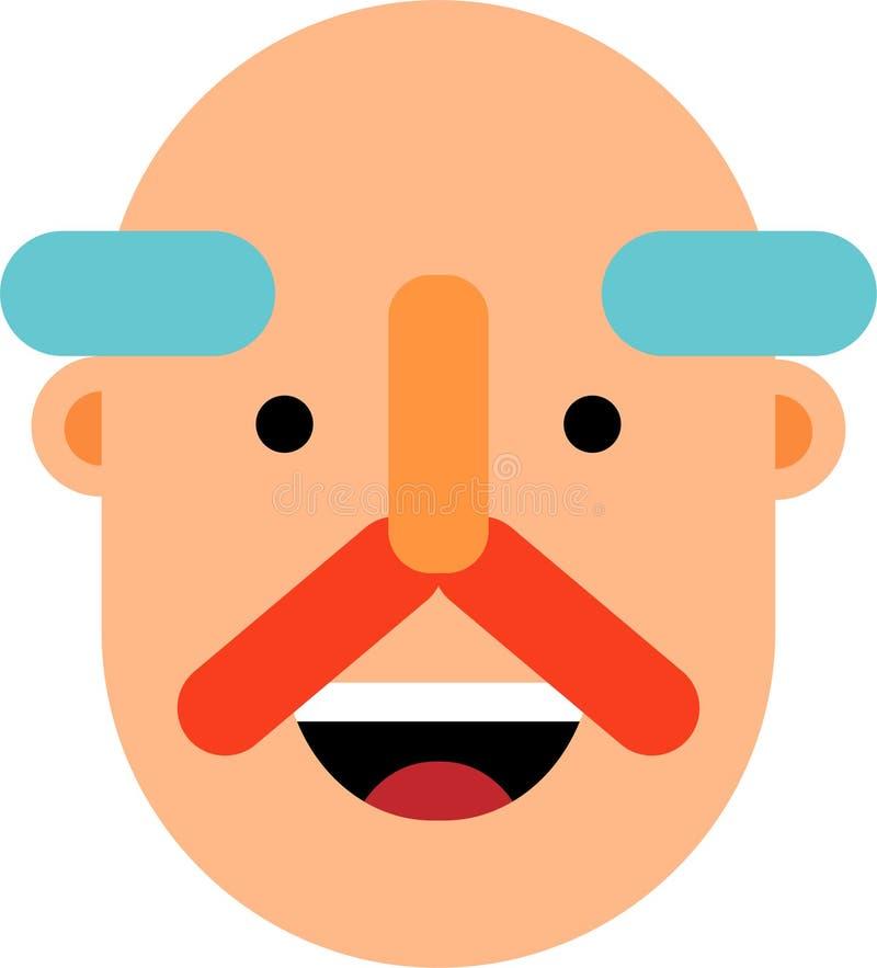 Old man smiling face flat design. An old man smiling face. Bold head.Flat design. Web graphics, and icons. Vector illustrations vector illustration
