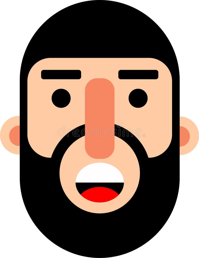Middle age man face flat deaign. A middle age man smilling face vector illustration. Stright looking. Best for web, mobile and graphic deaigning royalty free illustration