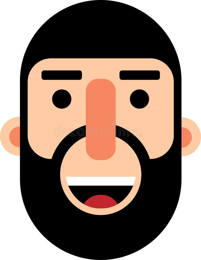 Middle age man with full beard smilling face flat deaign. A middle age man smilling face vector illustration. Stright looking. Best for web, mobile and graphic stock illustration