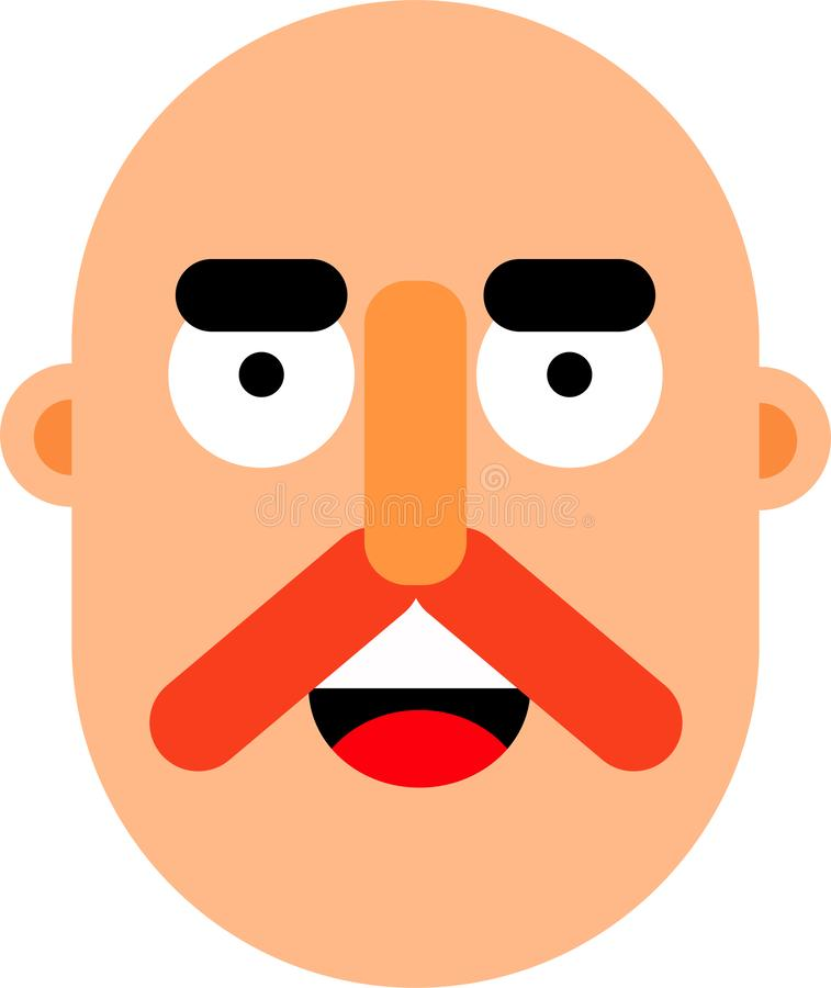Middle age man face flat deaign. A middle age man smilling face vector illustration. Stright looking. Best for web, mobile and graphic deaigning stock illustration