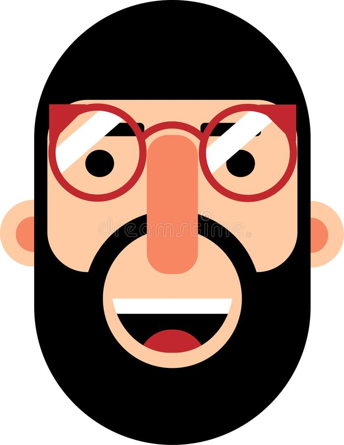 Middle age man with beard face flat deaign. A middle age man smilling face vector illustration. Stright looking. Best for web, mobile and graphic deaigning royalty free illustration