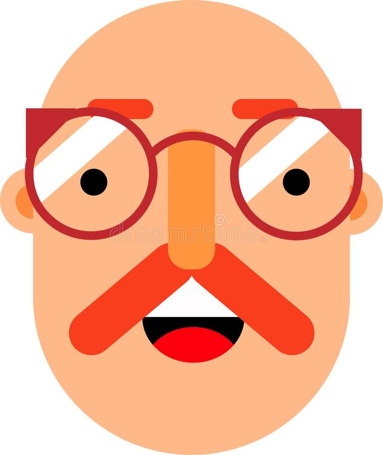 Middle age man smilling face flat deaign. A middle age man smilling face vector illustration. Stright looking. Best for web, mobile and graphic deaigning royalty free illustration