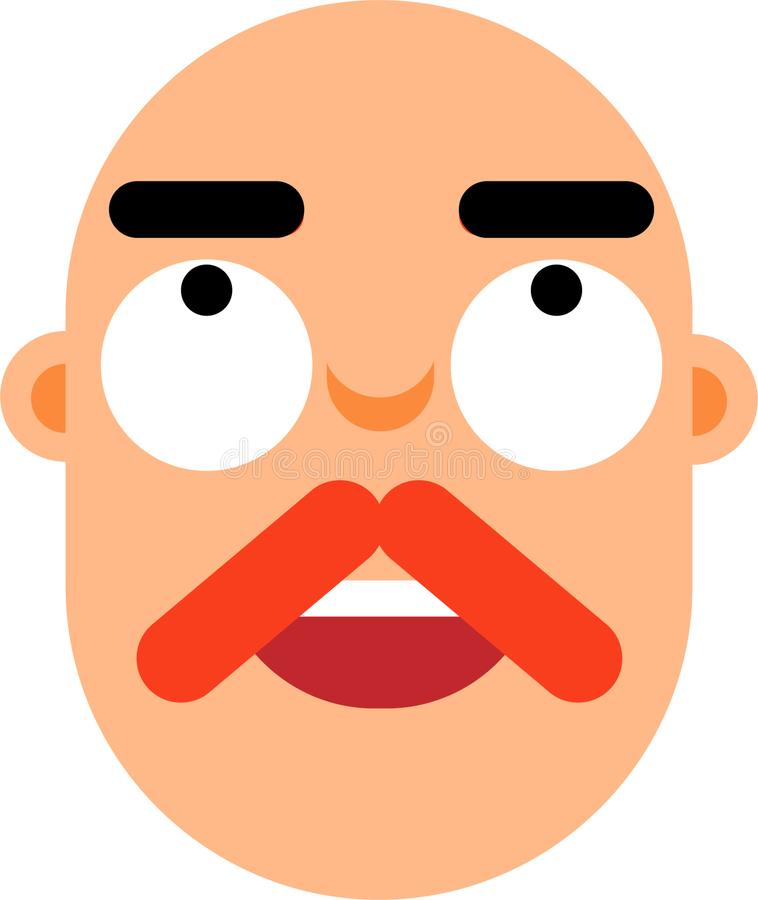 Middle aged man worried face flat deaign. A middle age man worried face vector illustration. Looking up. Surprice looking. Best for web, mobile and graphic stock illustration
