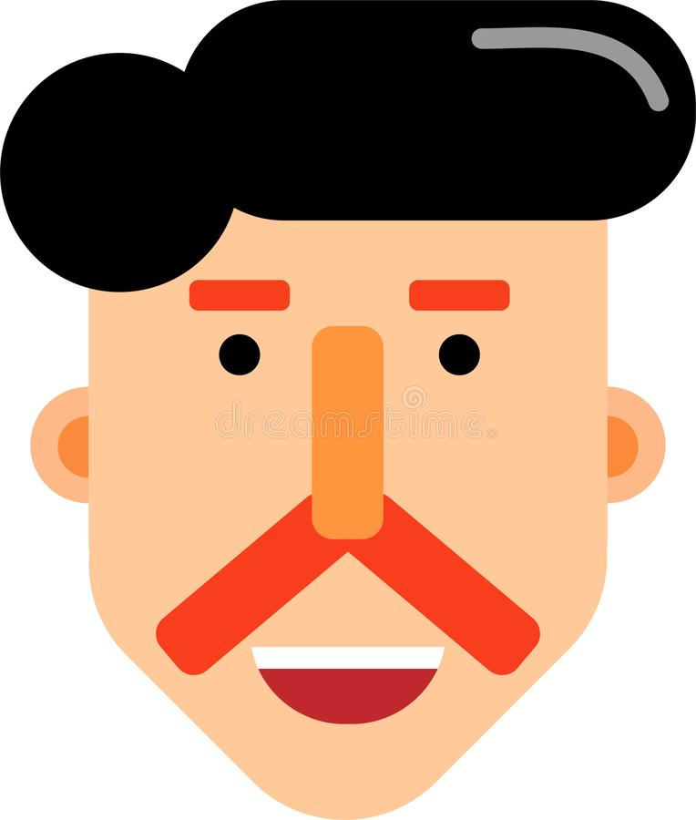 Middle age man smilling face flat deaign. A middle age man smilling face vector illustration. Stright looking. Best for web, mobile and graphic deaigning vector illustration