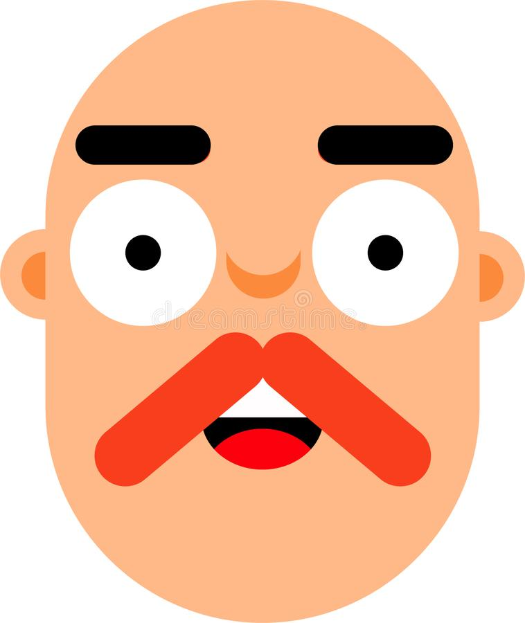 Middle age man smilling face flat deaign. A middle age man smilling face vector illustration. Stright looking. Bold face. Surprice looking. Best for web, mobile vector illustration