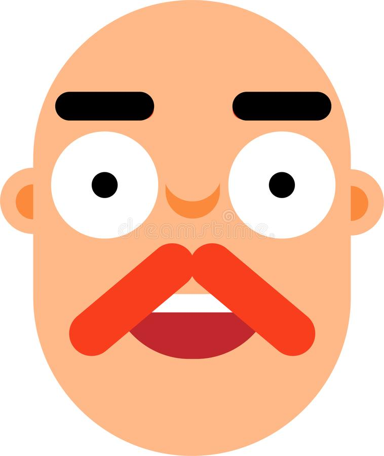 Middle age man with bold head smilling face flat deaign. A middle age man smilling face vector illustration. Stright looking. Bold face. Surprice looking. Best vector illustration