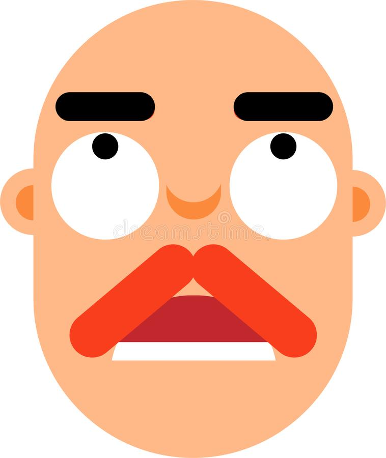 Middle aged man worried face flat deaign. A middle age man worried face vector illustration. Stright looking. Black hair face. Surprice looking. Best for web stock illustration
