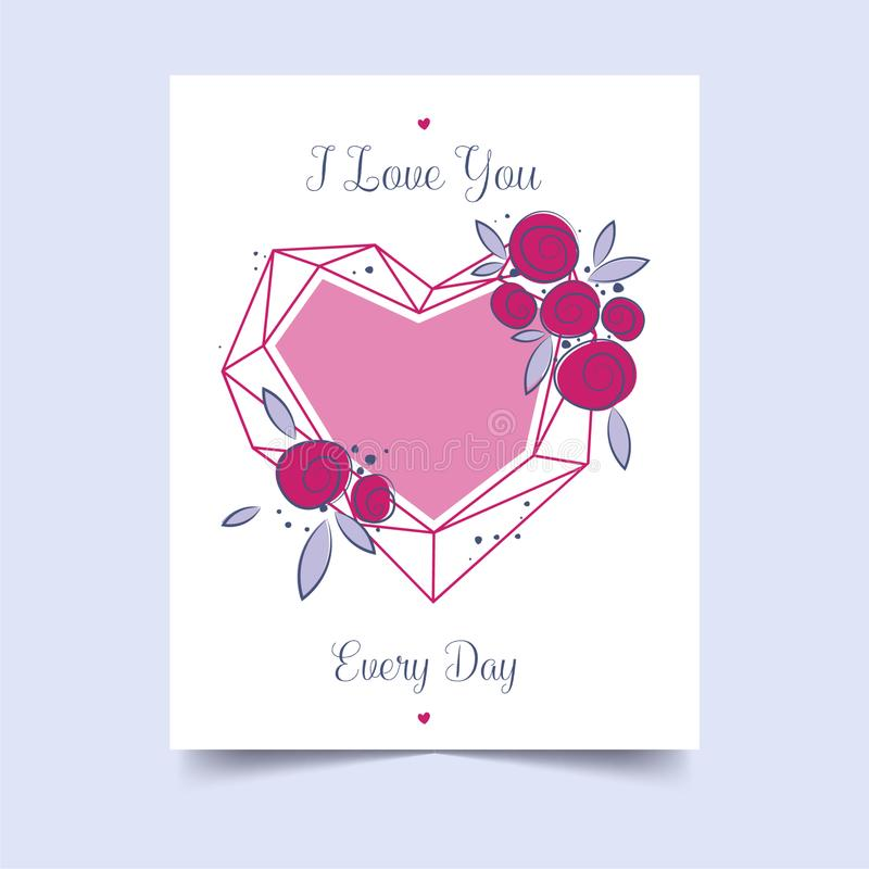 Love for decorative design. Happy valentines day lettering card. Festive event banner. Valentine day background red heart love. royalty free stock photography