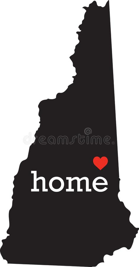 New Hampshire home state - black state map with Home written in white serif text with a red heart. stock image