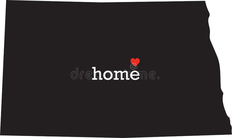 North Dakota home state - black state map with Home written in white serif text with a red heart. Isolated on white background stock photos