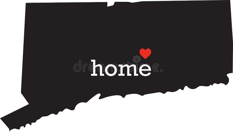 Connecticut home state - black state map with Home written in white serif text with a red heart. Isolated on white background royalty free stock image