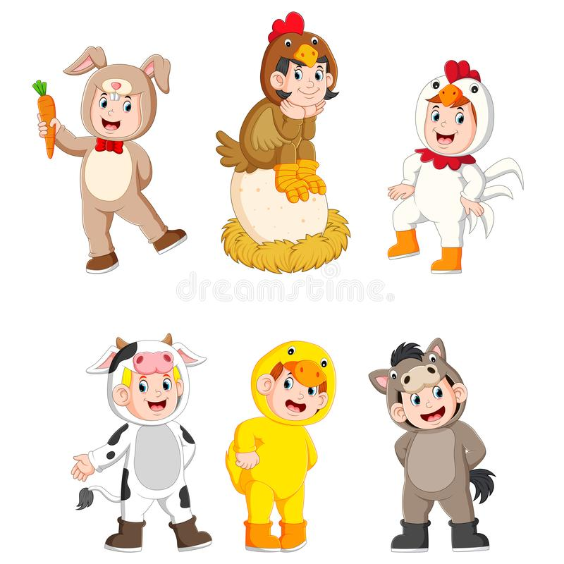 Collection children wearing cute farm animal costumes. Illustration of collection children wearing cute farm animal costumes royalty free illustration