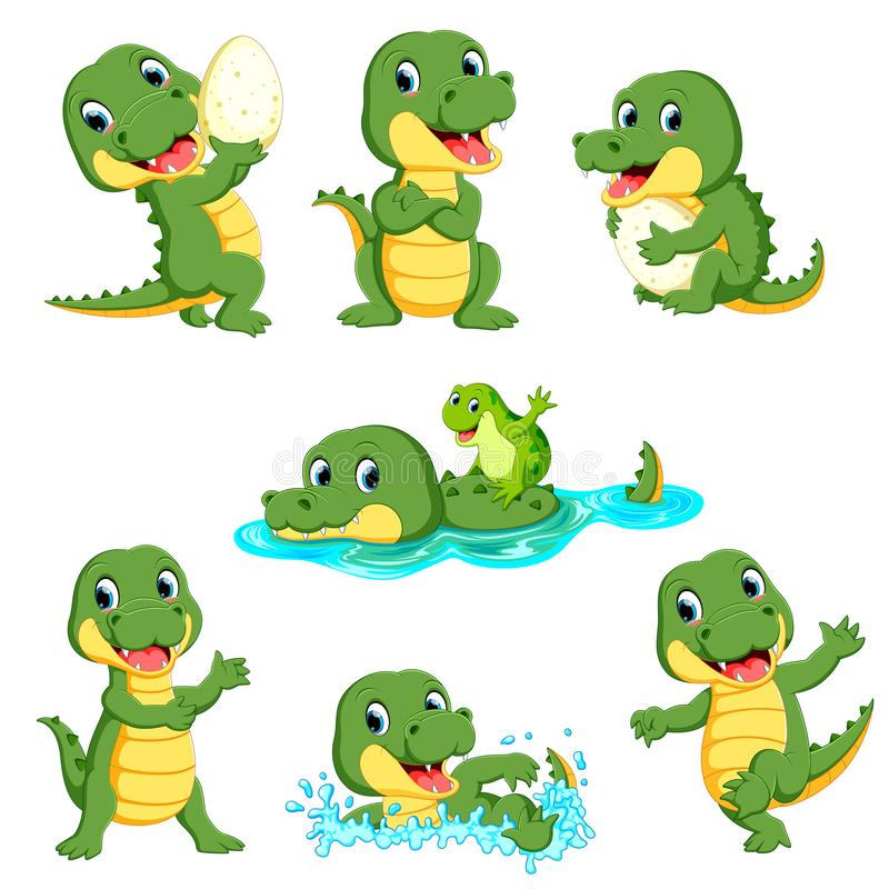 Collection of cute alligator character cartoon royalty free illustration