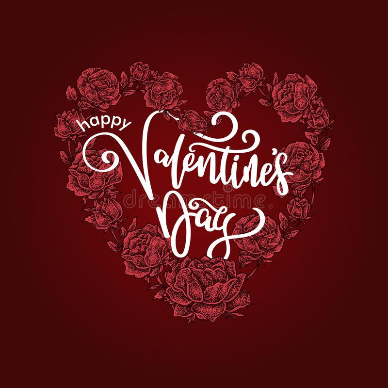 Happy Valentine`s Day Lettering, Heart shaped Rose floral. A lovely Happy Valentine`s Day Lettering with heart shaped Rose floral for the baackground vector illustration