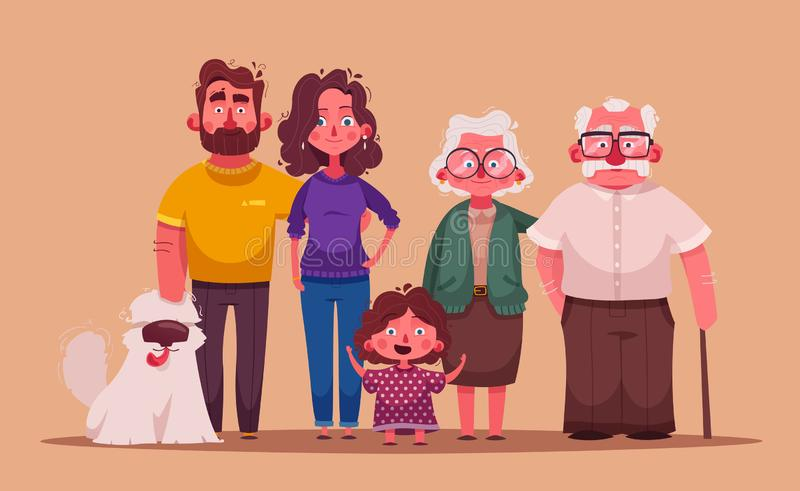 Big happy family together. Character design. Cartoon vector illustration. Three generations - grandparents, parents and children stock illustration