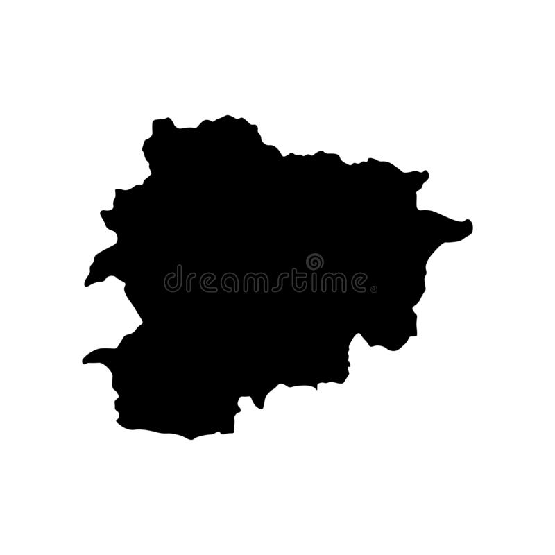 Basic RGB. Vector isolated illustration of political map of South Europe state - Principality of Andorra. Black silhouette. White background royalty free illustration