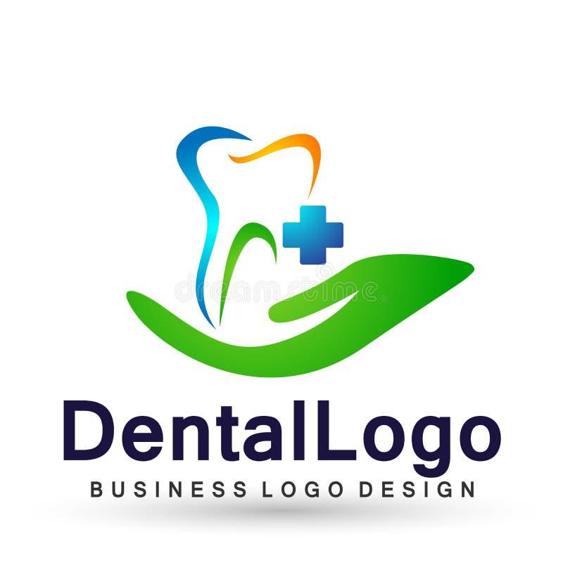 Vector logo design illustration for dental clinic healthcare with hand dentist practice teeth treatment for healthy mouth. Vector logo design illustration for royalty free illustration