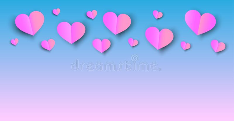 Pink hearts on blue background. Pink paper cut hearts on blue background royalty free illustration