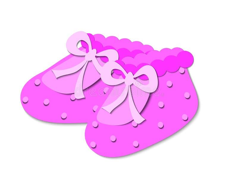 Pink baby booties vector illustration