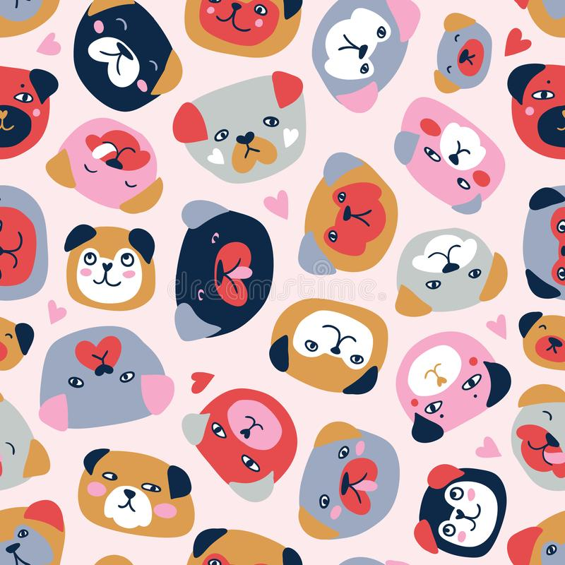 Vector seamless pattern with heads of dogs isolated on the white background. Funny pugs fabric design. Cute vector seamless pattern with heads of dogs isolated stock illustration
