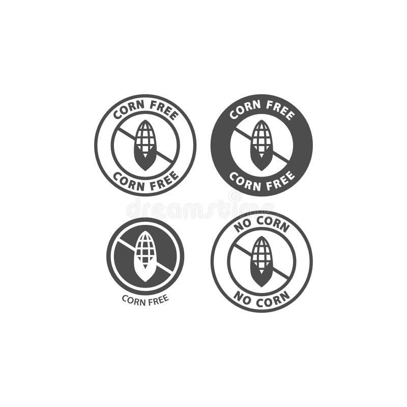 Corn free food ingredients label. No corn allergen symbol instructions vector stamp. vector illustration