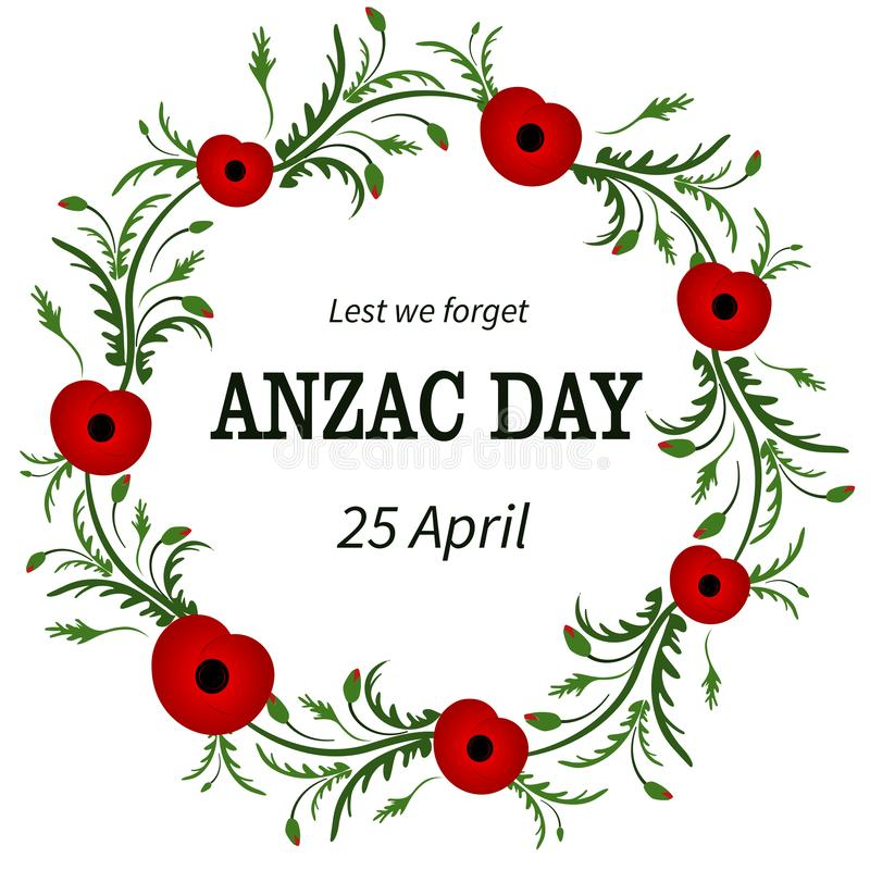 Red poppy flower . Anzac Day, Floral frame. Poppy wreath. Second world war , First world war. Remembrance day. Veterans stock illustration