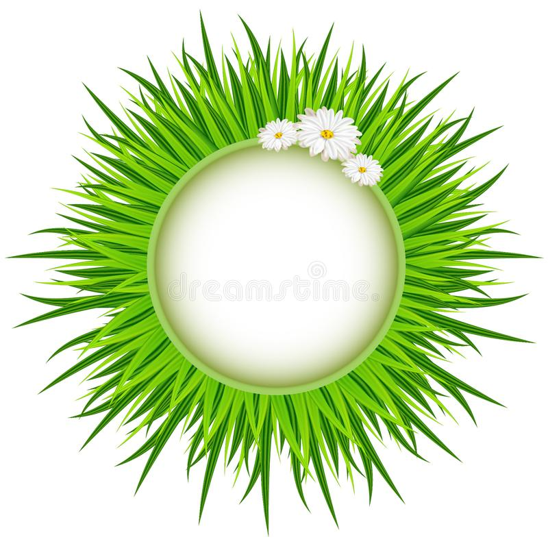 Spring. Wreath of Grass . Bright spring concept illustration with flowers. royalty free illustration